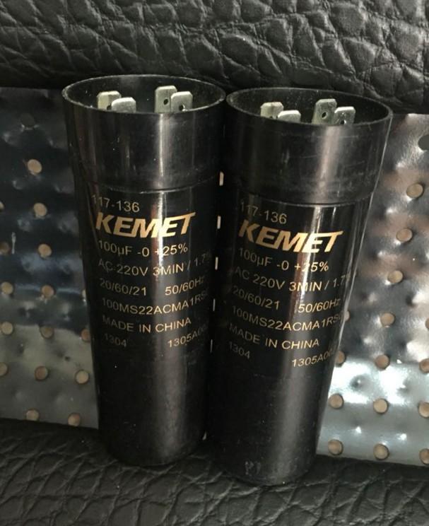 100MS22ACMA1RSC 117-136 KEMET Aluminium Elec Capacitor 100μF 220 V ac 38mm