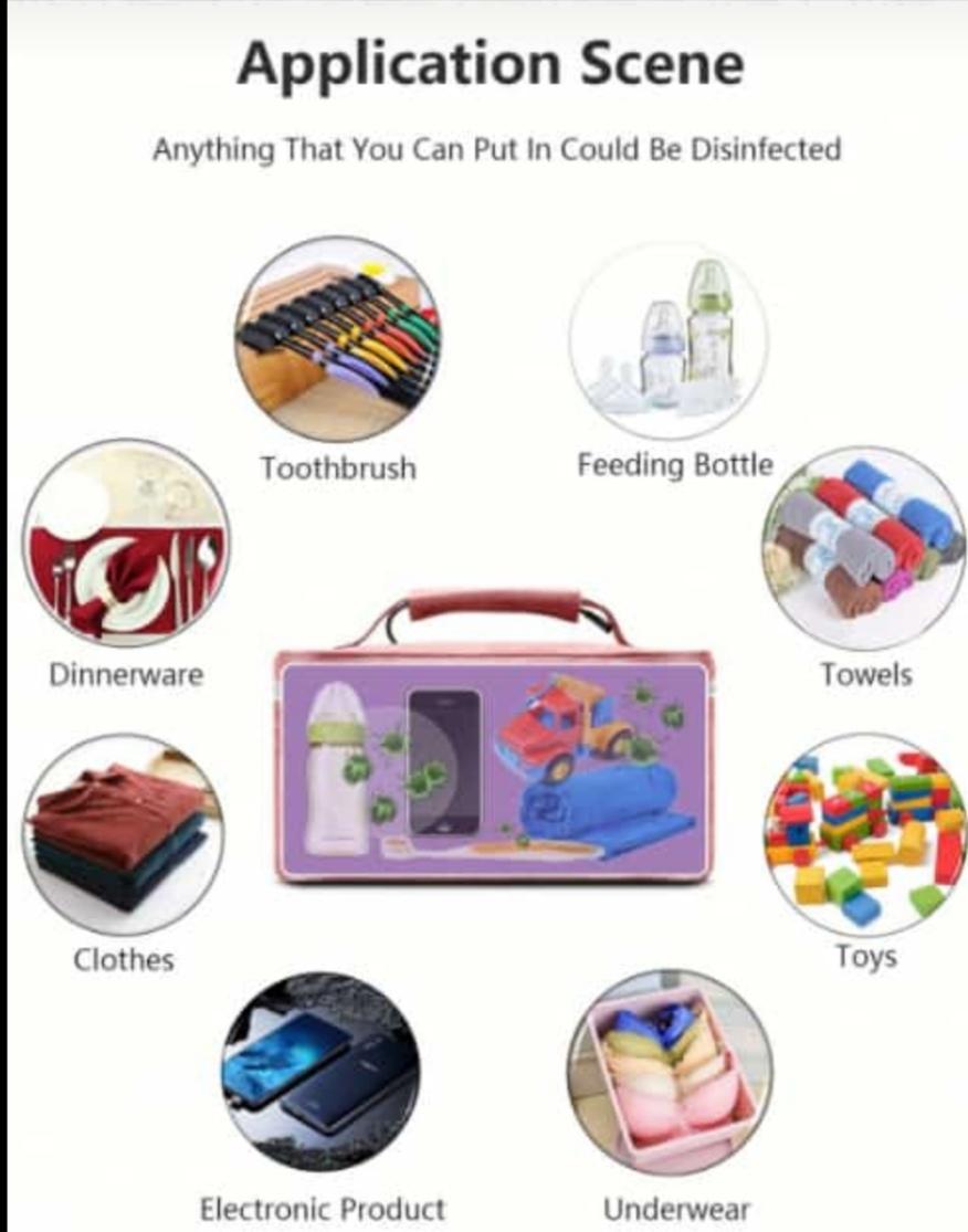 UV Sterilizer Bag Portable USB Rechargeable LED UV Disinfection Bag